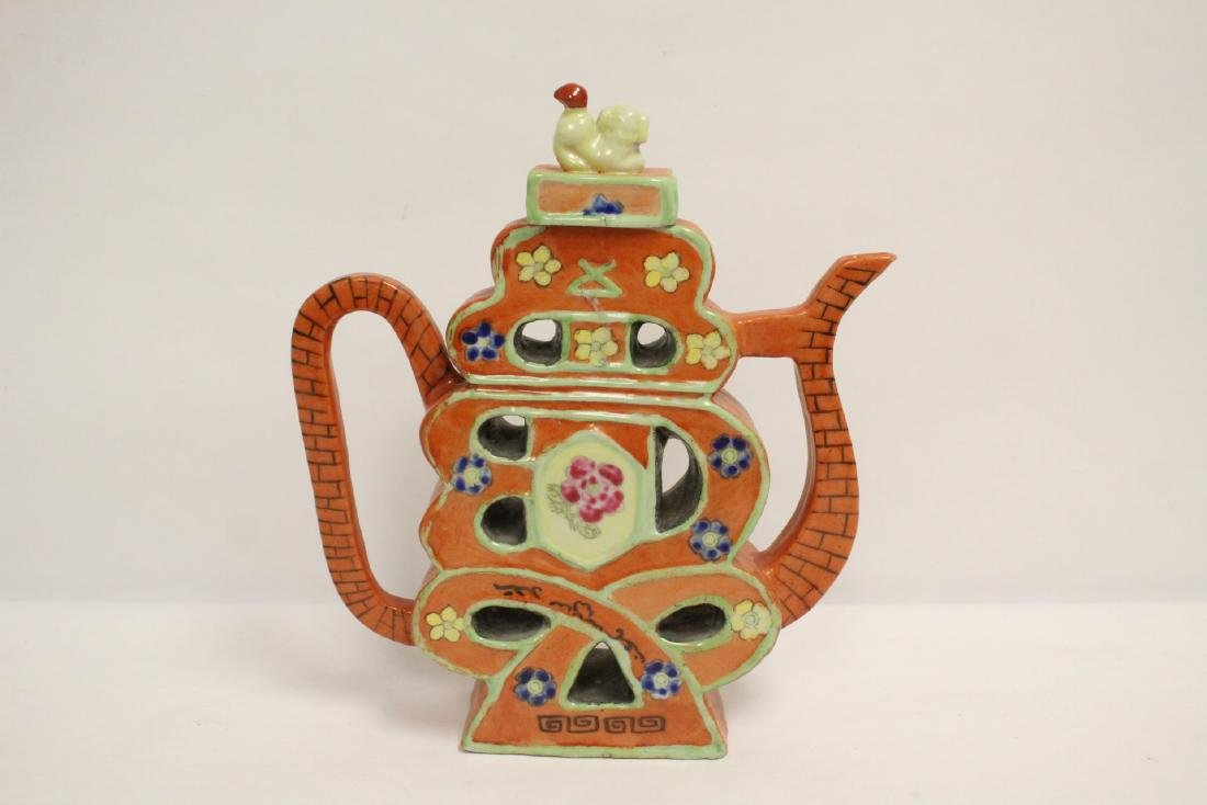 Chinese pewter teapot, and a porcelain teapot - 8