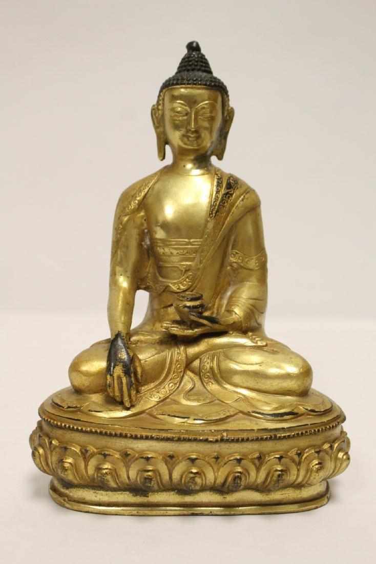 A fine Chinese gilt bronze seated Buddha