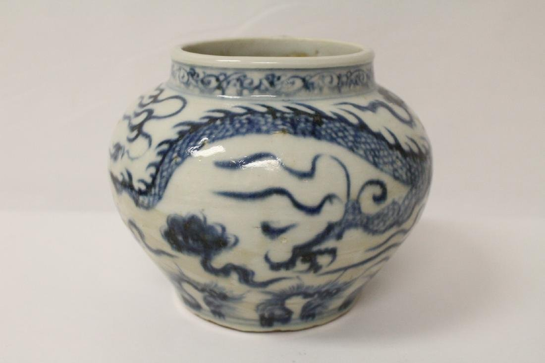 Chinese blue and white porcelain jar with dragon - 4