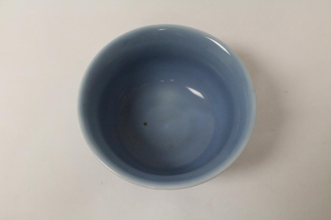 A blue glazed bowl, and a green glazed bowl - 4