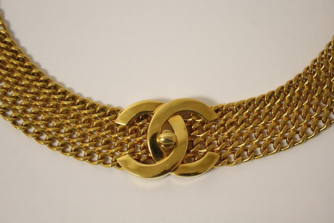 A gilt metal genuine Chanel belt - 10