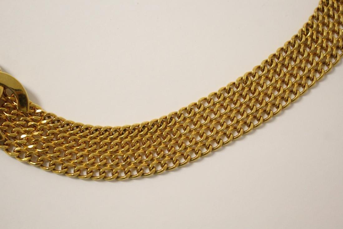 A gilt metal genuine Chanel belt - 3