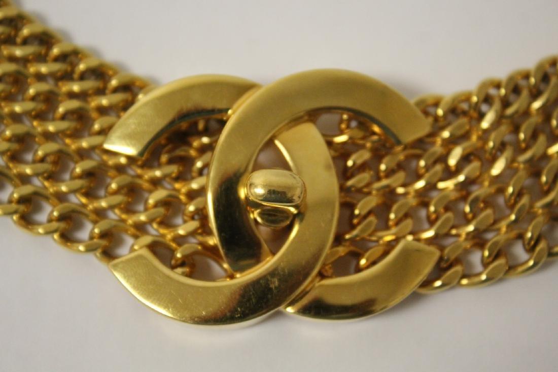 A gilt metal genuine Chanel belt - 7