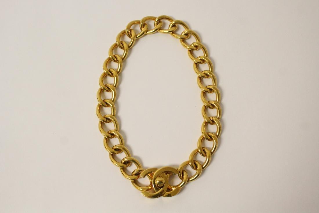A gilt metal Chanel choker