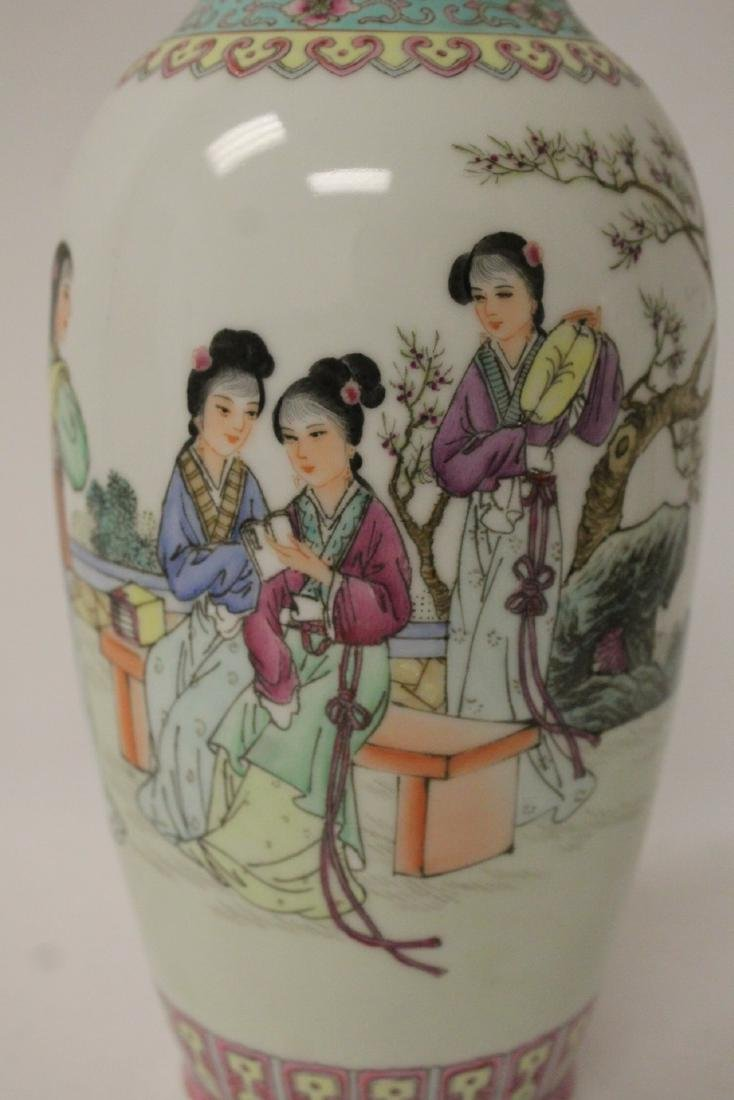 Pair Chinese famille rose porcelain vases with stand - 10
