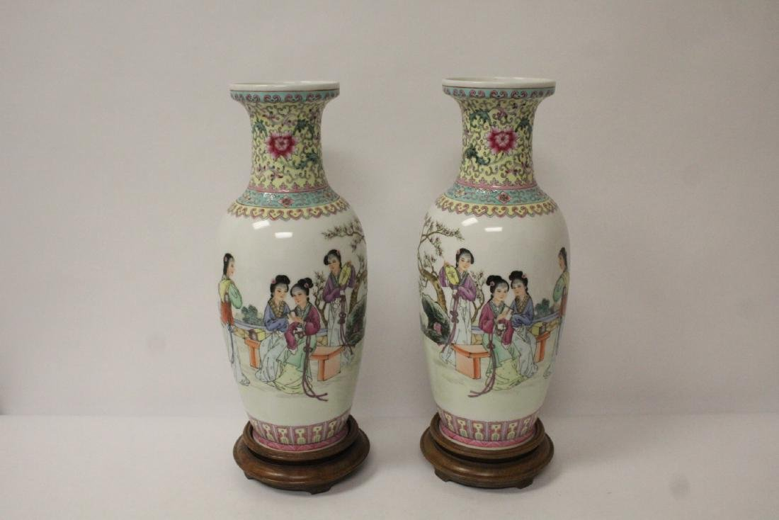Pair Chinese famille rose porcelain vases with stand