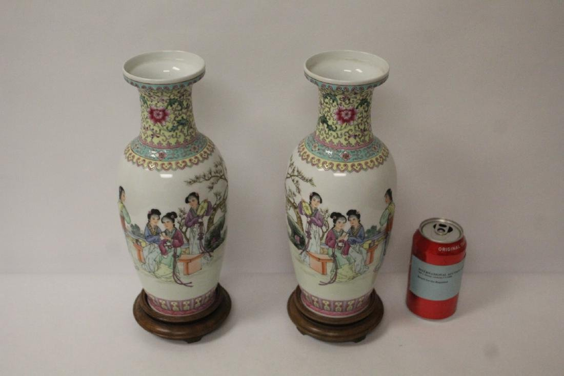 Pair Chinese famille rose porcelain vases with stand - 2