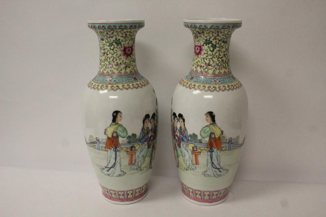 Pair Chinese famille rose porcelain vases with stand - 5