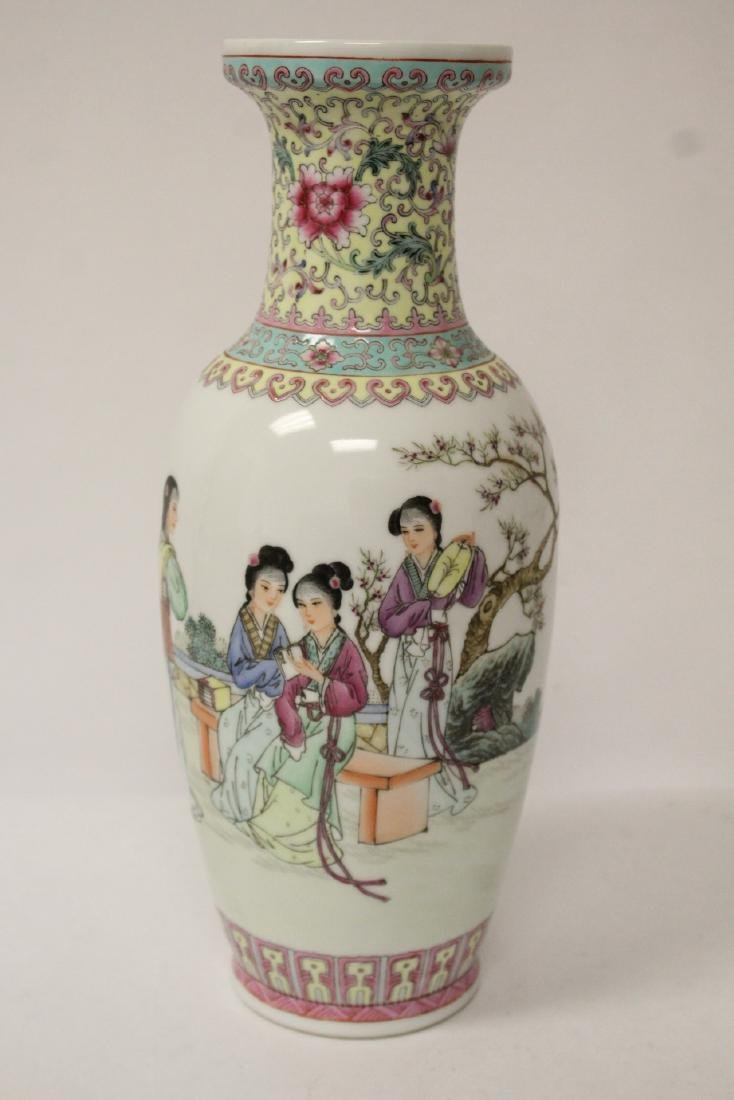 Pair Chinese famille rose porcelain vases with stand - 8