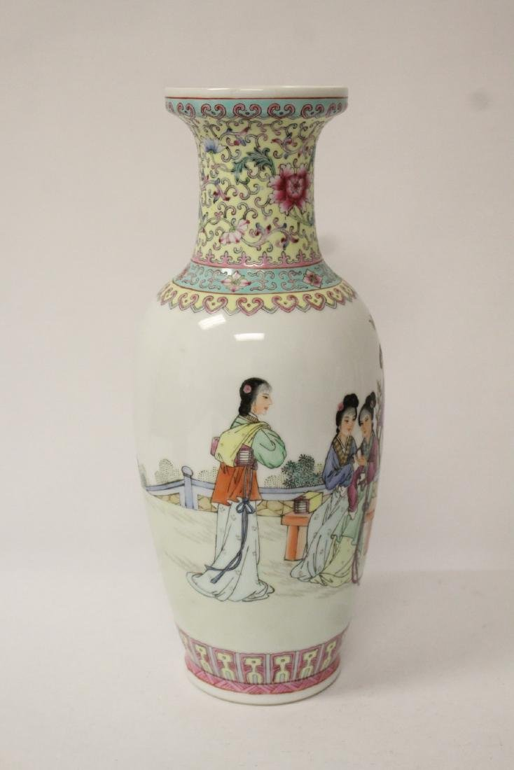 Pair Chinese famille rose porcelain vases with stand - 9