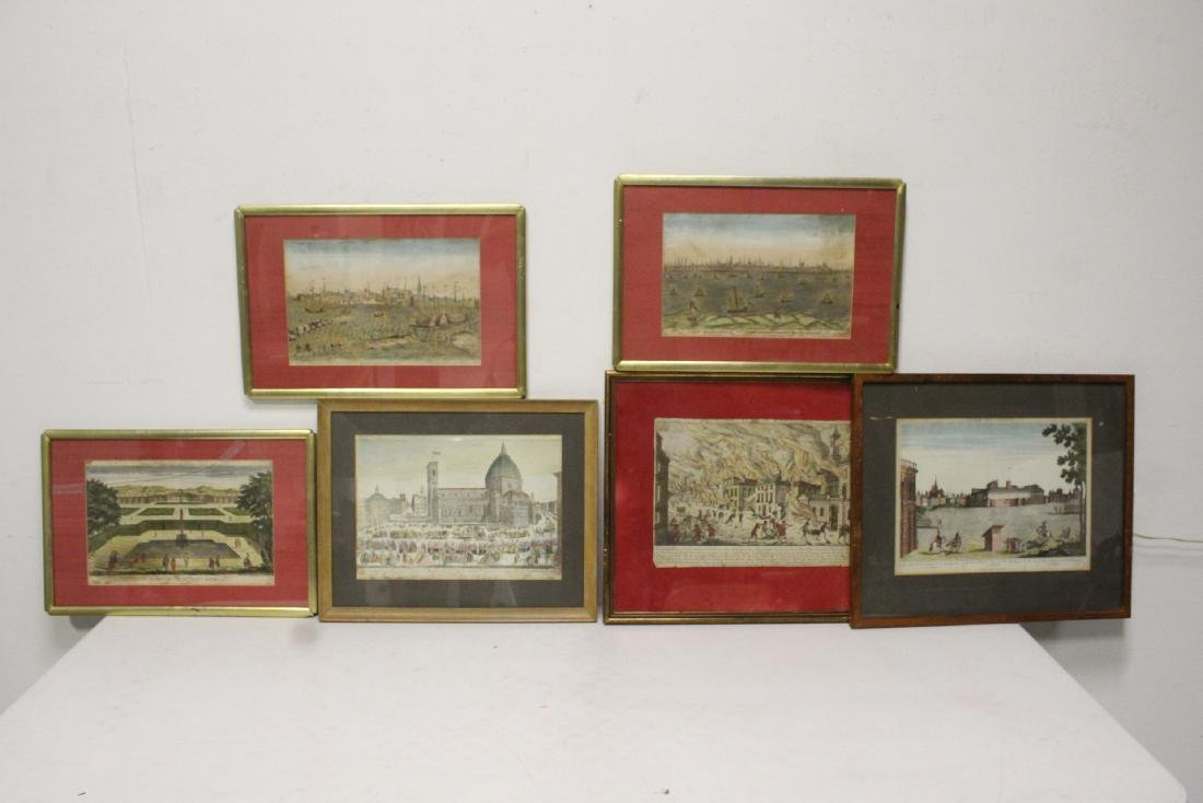 Six 18th/19th c. hand color enhanced etchings