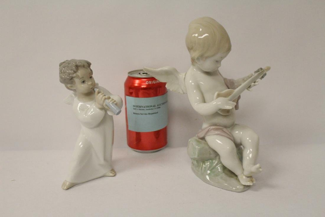 """2 Lladro pieces """"angel with musical instrument"""""""