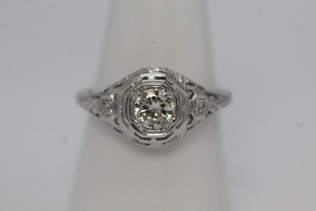 A beautiful 14K W/G art deco diamond ring