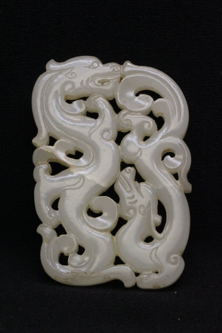 Chinese antique white hetian jade carving, Qing dynasty