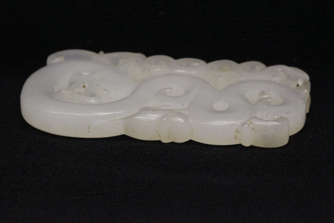 A superb Chinese antique hetian white jade carving - 8