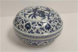 Large Chinese blue and white covered box