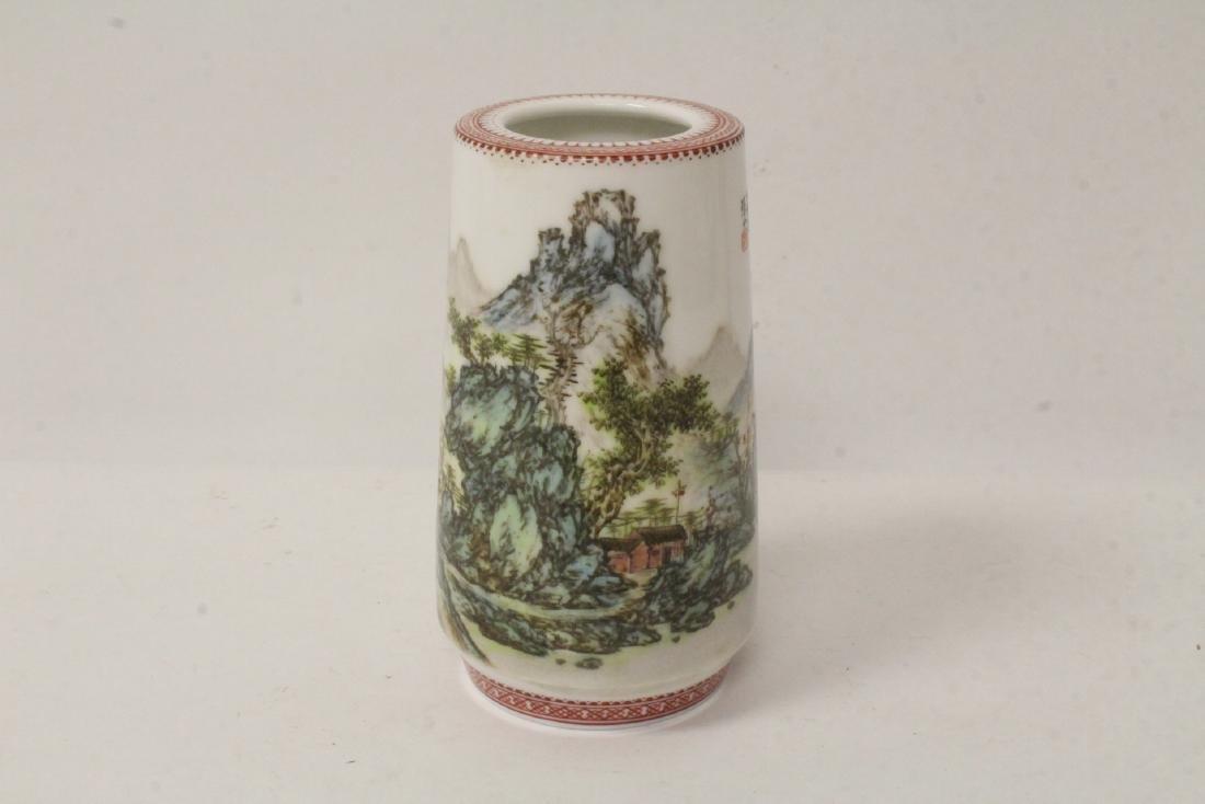 Famille rose porcelain brush holder