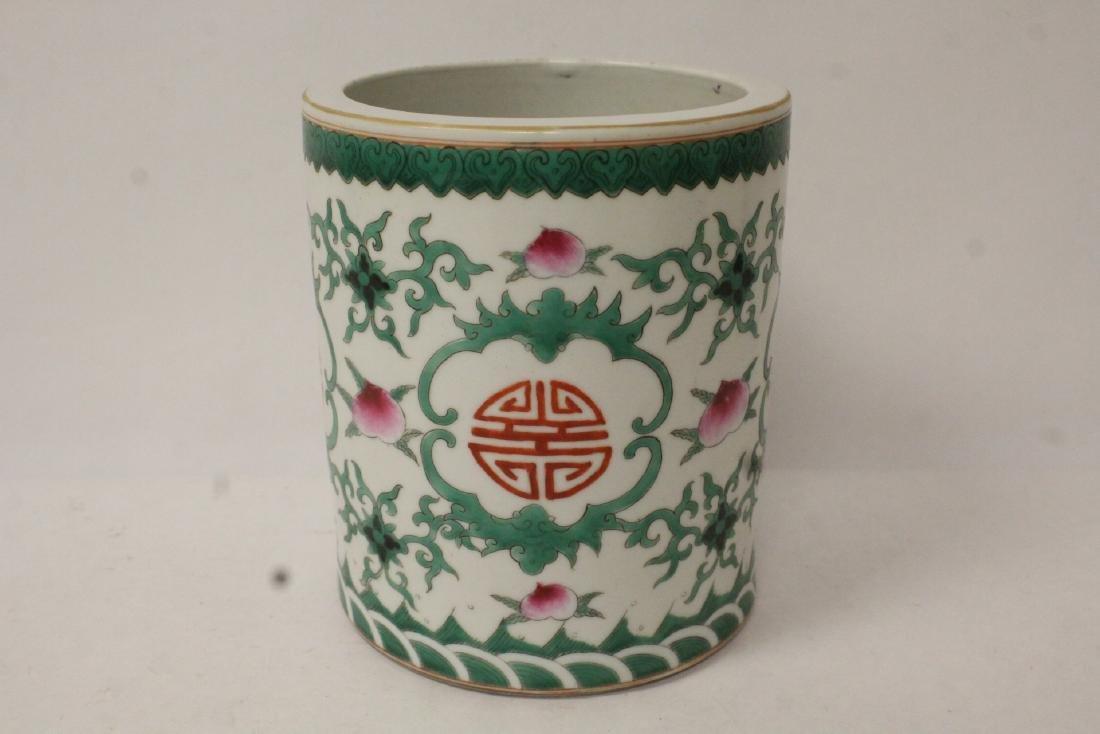 Chinese wucai porcelain brush holder