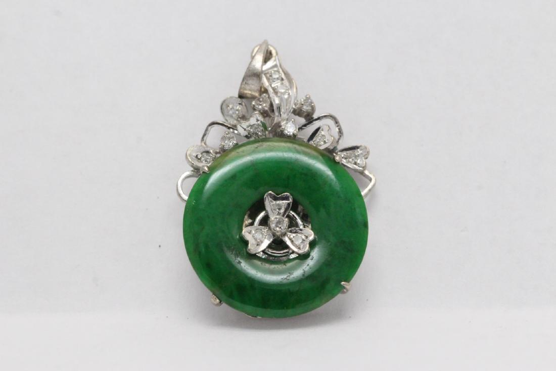 18K W/G jadeite diamond pendant