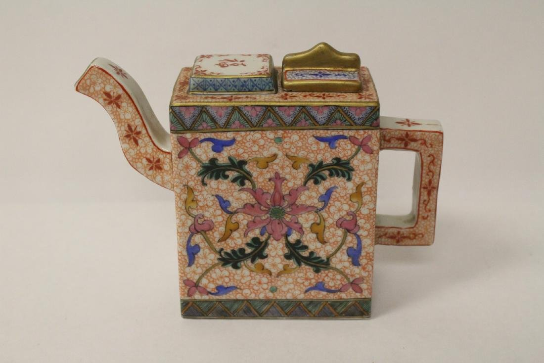 Chinese famille rose porcelain teapot, Guangxu mark