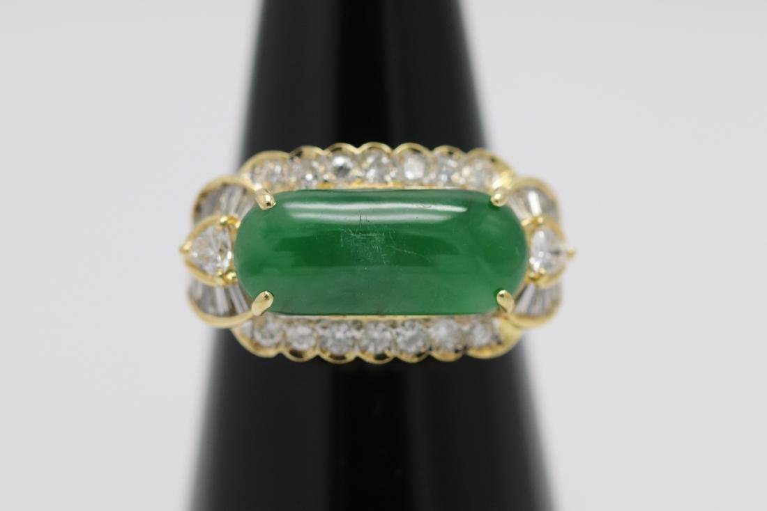 14K Y/G jadeite diamond ring with GIA certificate