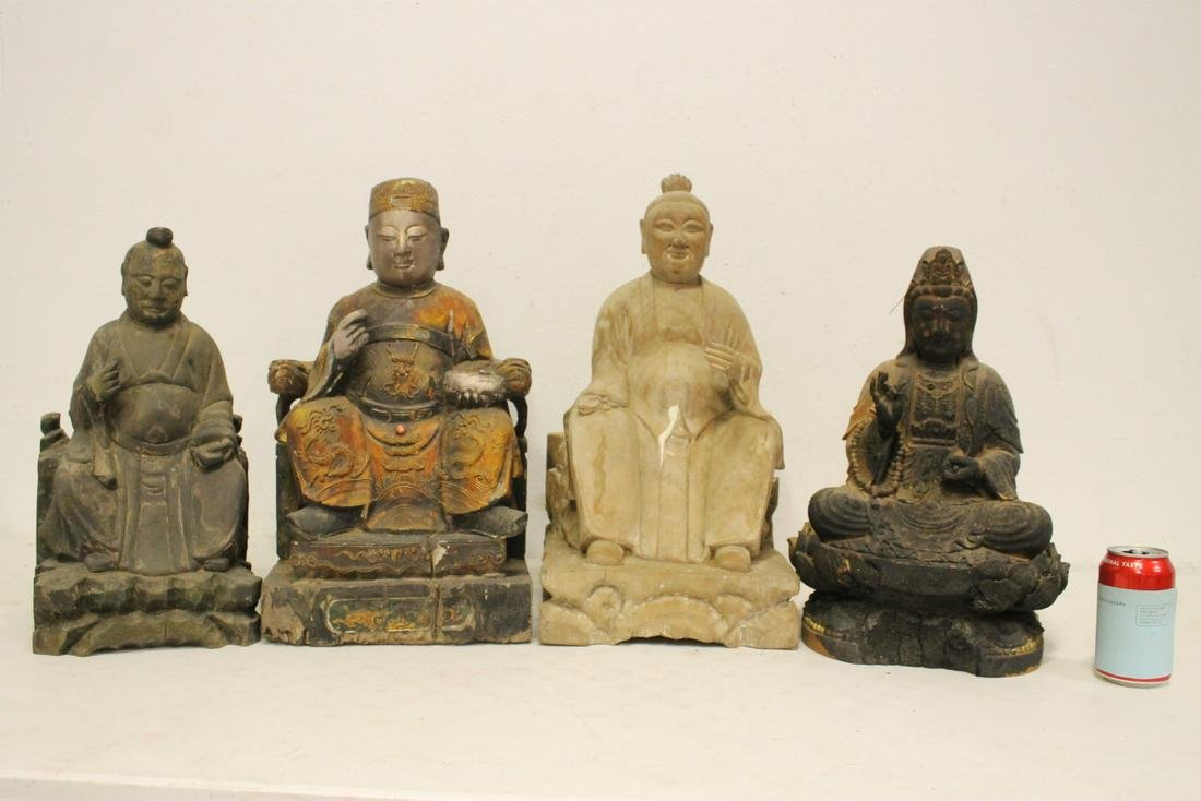 4 Chinese wood carved deities