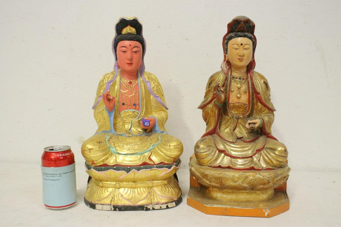 2 Chinese gilt wood Guanyin
