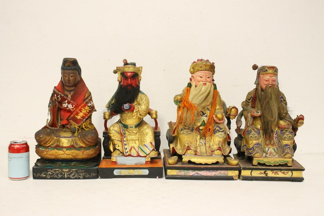 4 Chinese polychrome statue of deities