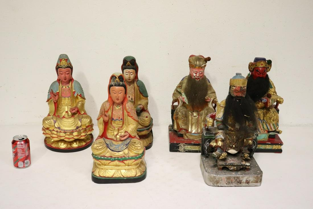 6 Chinese polychrome statue of deities