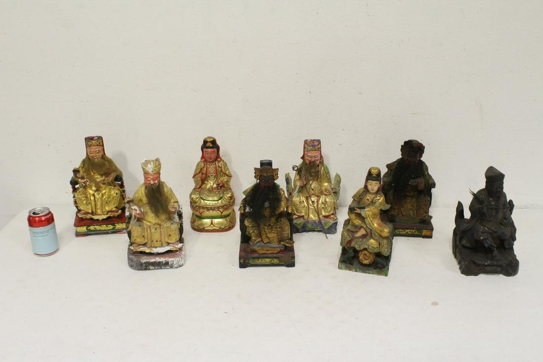 8 Chinese polychrome statue of deities