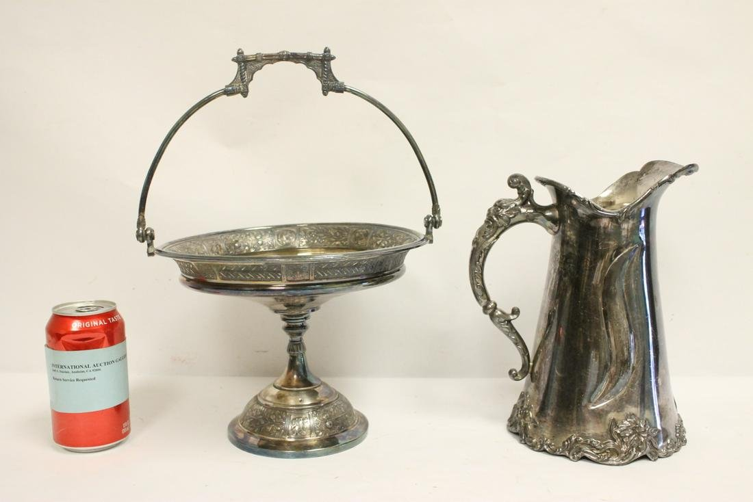 A Victorian silverplate pitcher, and a s/p compote