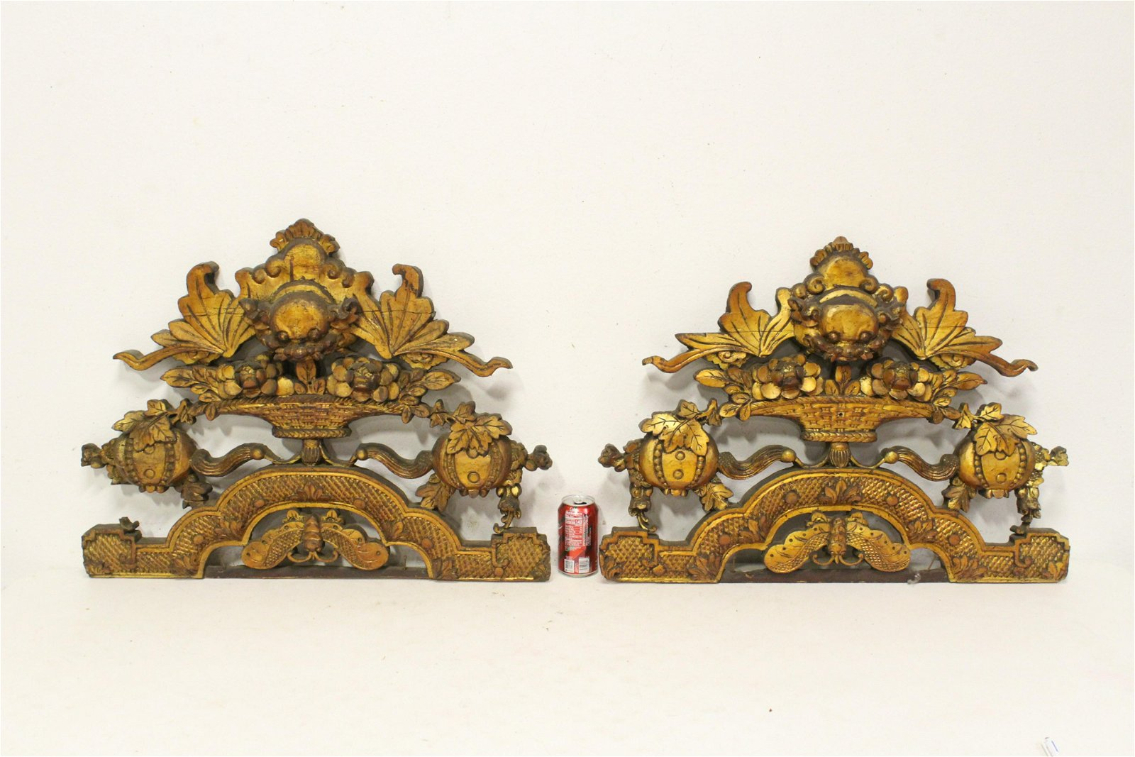 Pair Chinese 19th century gilt wood ornament