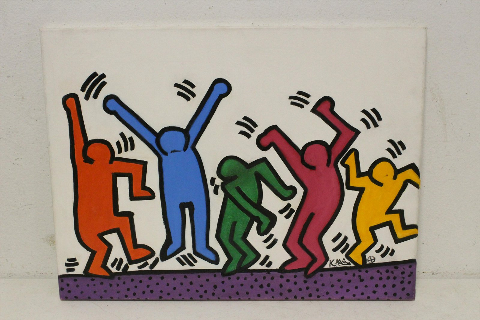 Oil on canvas signed K. Haring