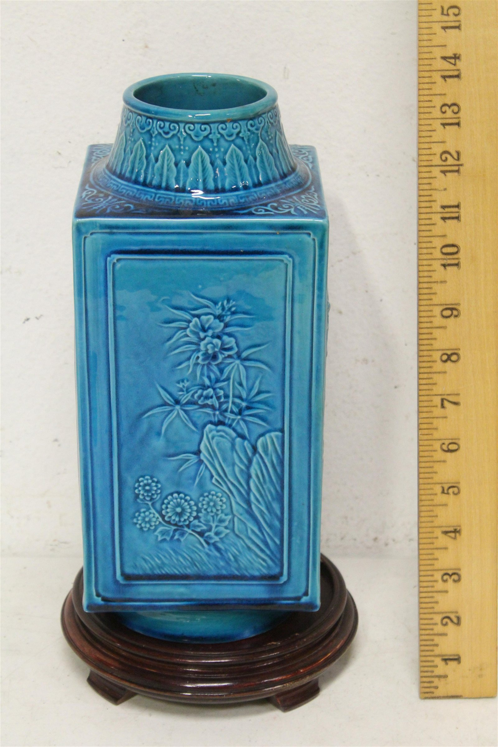 Chinese 19th c. turquoise glazed porcelain vase