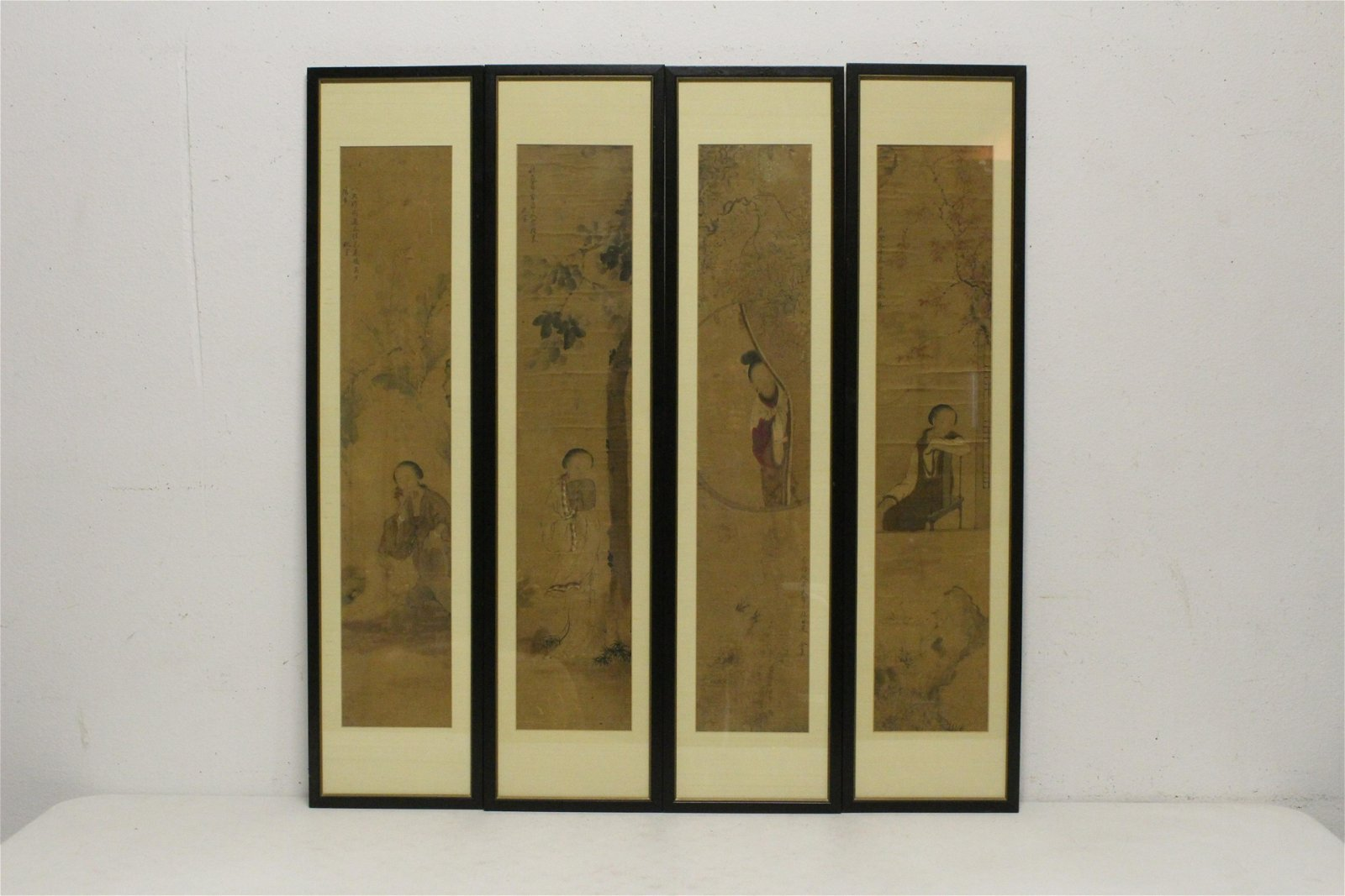 Set of 4 Chinese antique signed watercolor panel