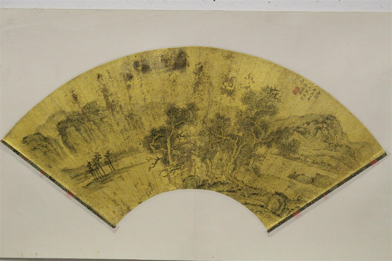 "Chinese fan painting ""landscape with pine tree"""