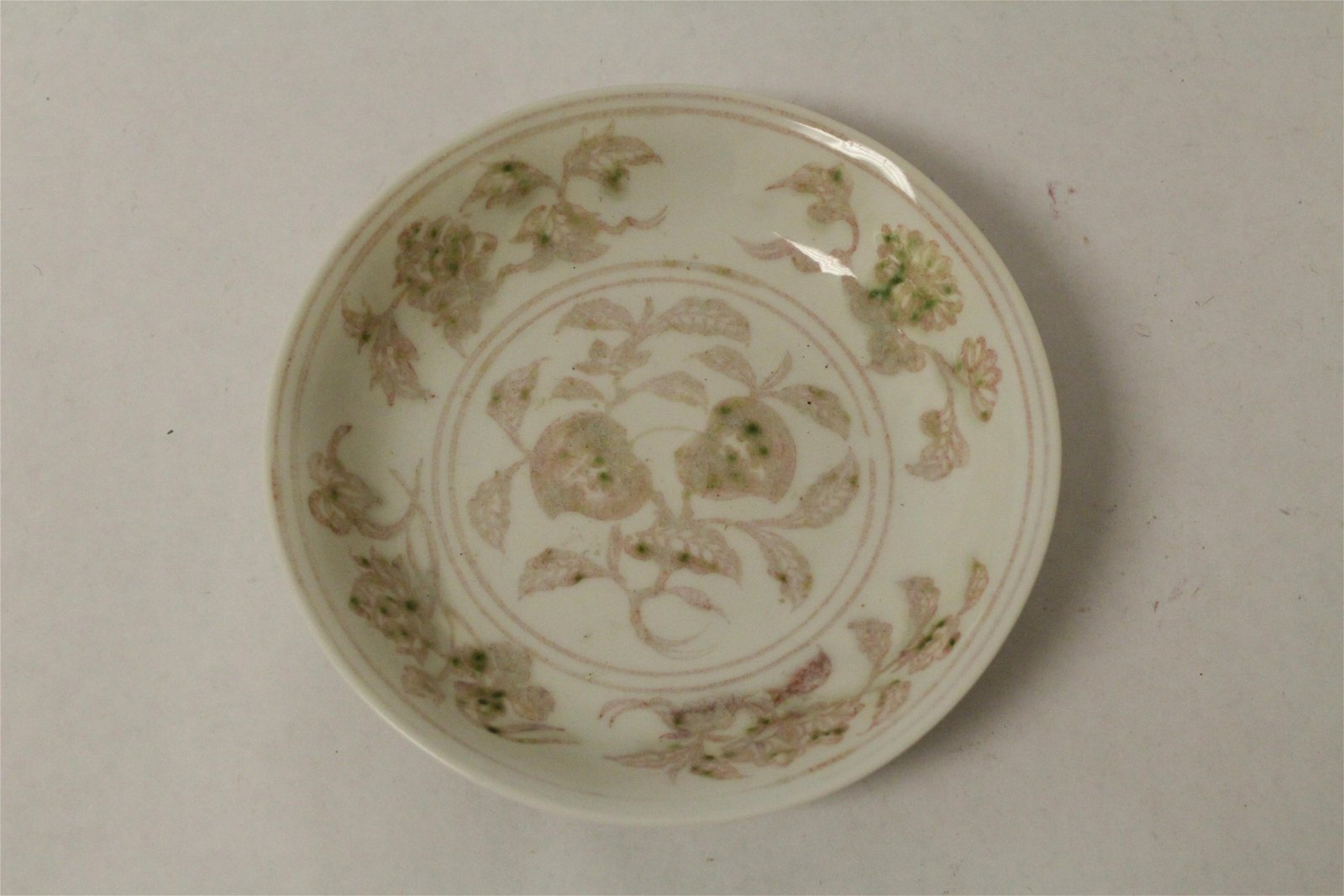 Chinese vintage red and white porcelain plate