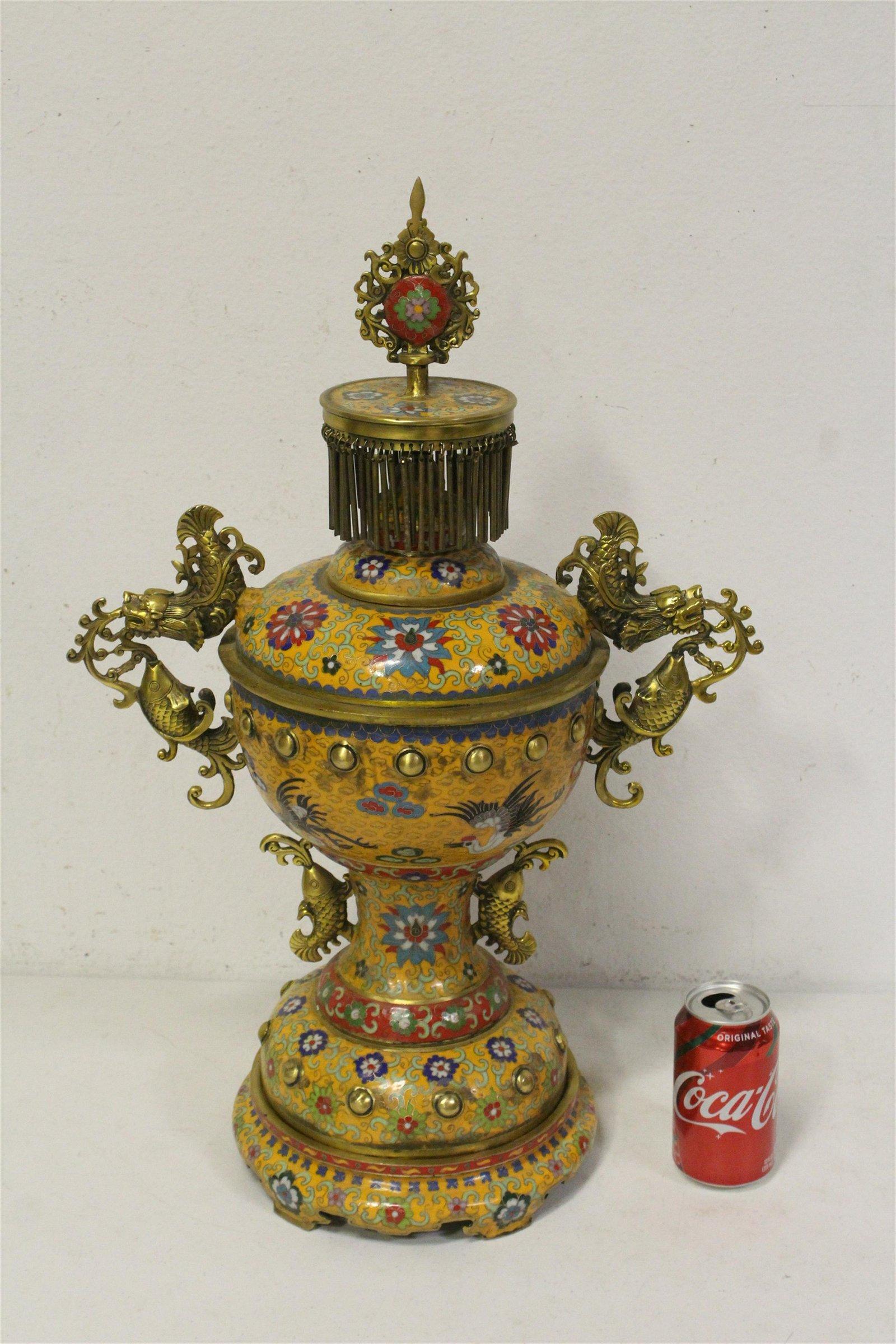 Chinese bronze based cloisonne covered jar w/ base