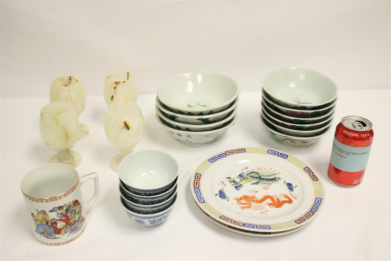 Large lot of Chinese porcelain pieces, & 4 onyx wine
