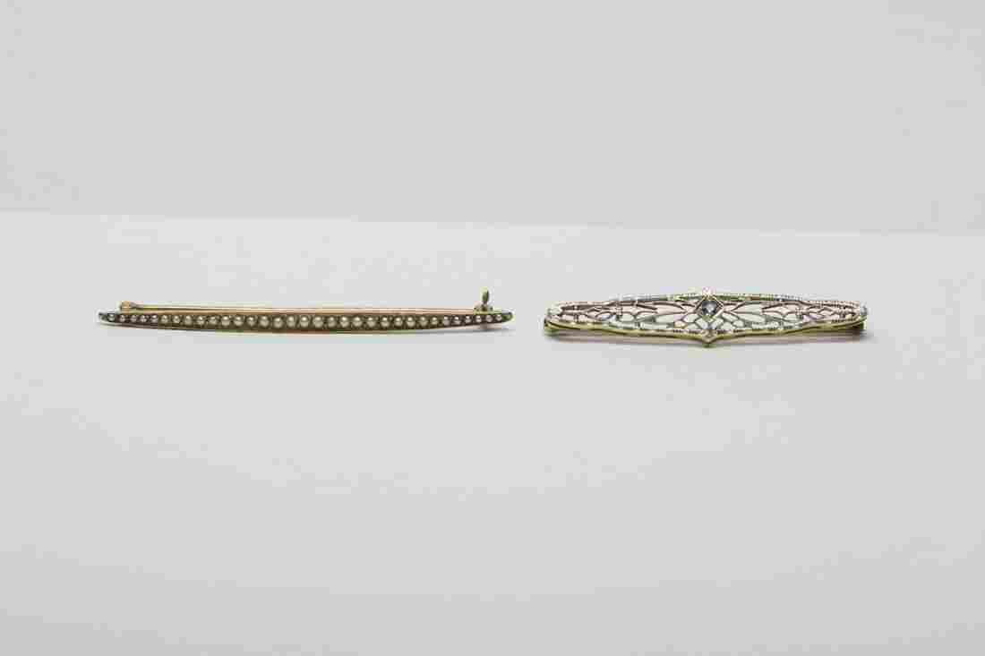 2 gold Victorian bar pins