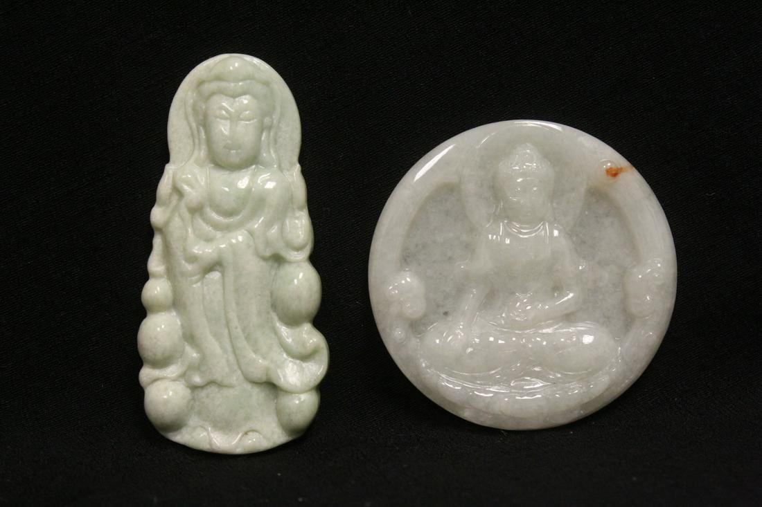 2 jadeite carved ornaments in Buddha motif