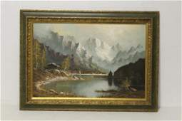 A fine oil on canvas painting lake scene
