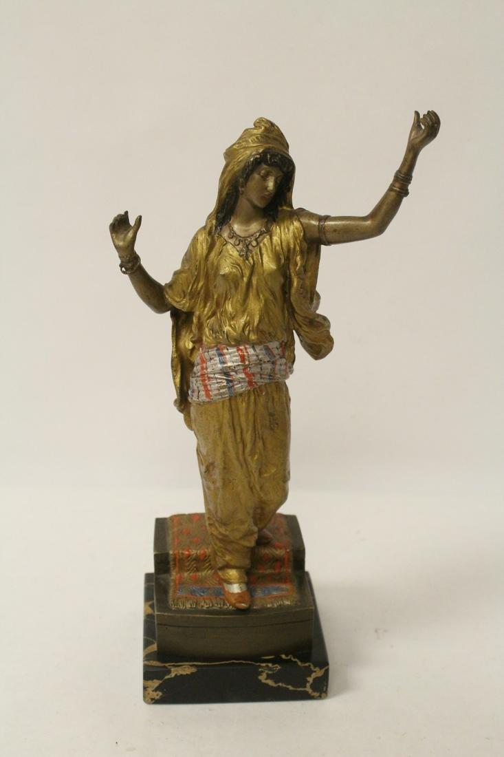 A painted bronze sculpture by Franz Bergman