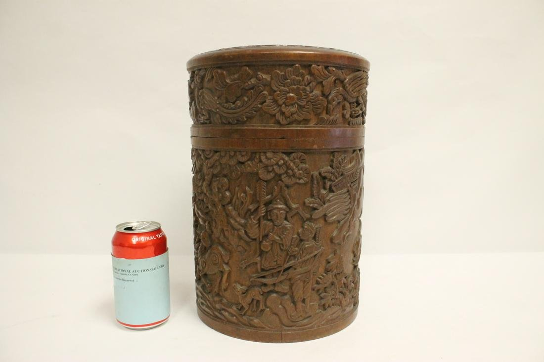massive Chinese antique rosewood carved tea caddy