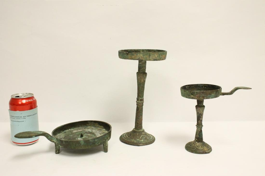 3 Chinese antique bronze candle holders