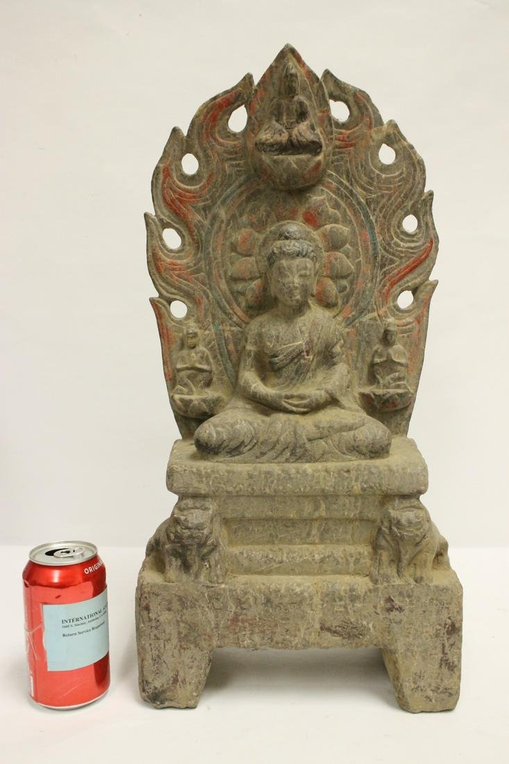 Chinese painted stone carved Buddha statue