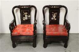 Pr Chinese rosewood armchairs w MOP inlaid
