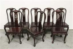 8 heavy Chinese rosewood side chairs w MOP inlaid