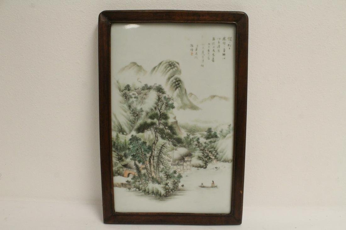 Chinese 19th c. famille rose porcelain plaque