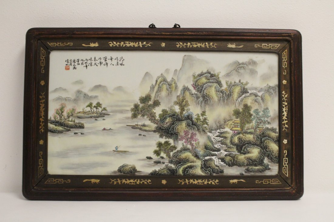 Chinese 19th/20th century famille rose porcelain plaque